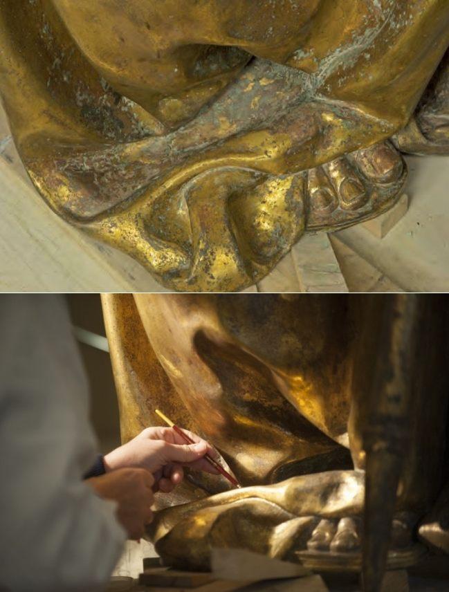 Il piede sinistro del San Ludovico di Donatello, prima e durante il restauro
