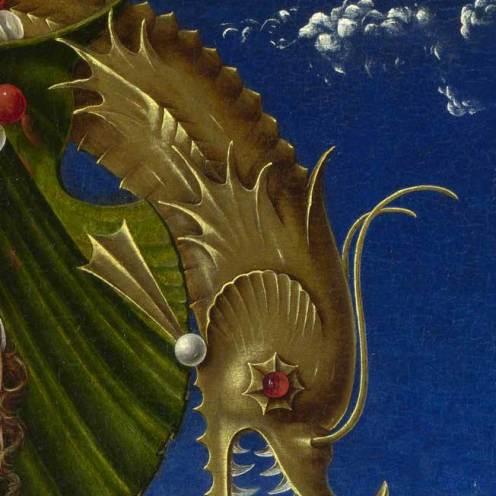 Cosmè Tura, Musa (Calliope?), particolare, circa 1455-1460, Londra, The National Gallery, tavola, cm 116,2 x 71,1