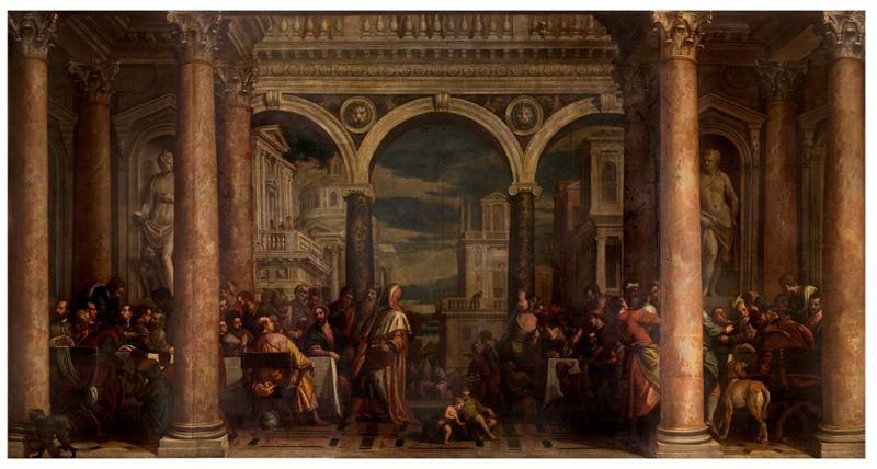 Haeredes Pauli (Bottega di Paolo Veronese), Cena in casa di Levi, olio su tela, cm 550 x 1010