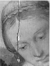 Un dettaglio della Madonna Esterhazy di Raffaello prima del restauro