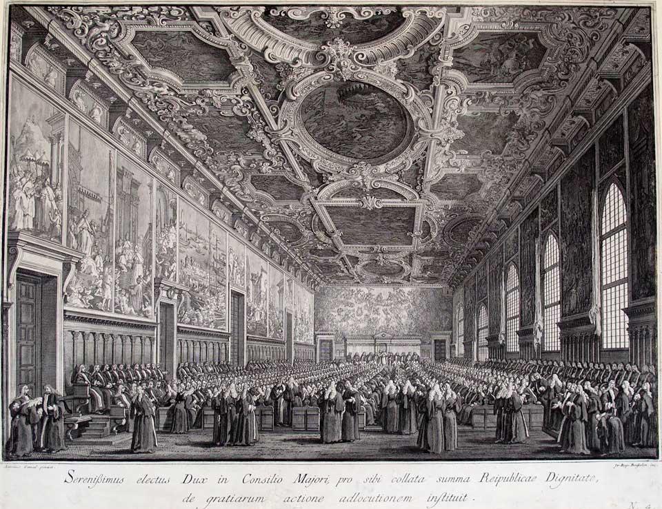 Giambattista Brustolon, Ringraziamento del Doge al Maggior Consiglio, da Le Feste Ducali, 1766