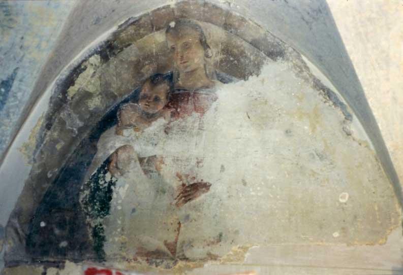 Fig. 4 La Madonna con il Bambino della casa privata di Brescia (durante il restauro)