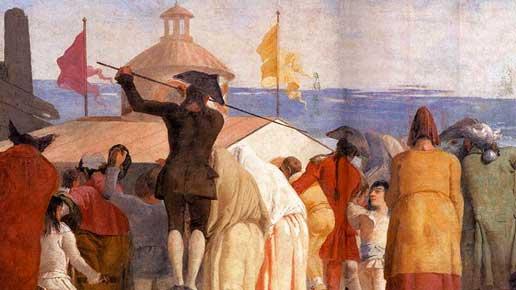 Giandomenico Tiepolo (1727-1804), Il Mondo novo, particolare, 1791, affresco strappato. Venezia, Museo di Ca' Rezzonico