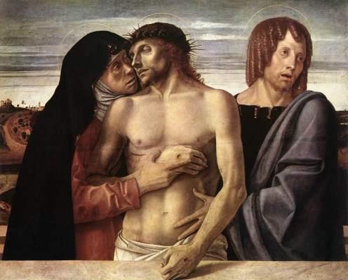 Giovanni Bellini, Cristo morto sorretto dalla Madonna e San Giovanni Evangelista (Pietà), 1472 circa. Milano, Pinacoteca di Brera