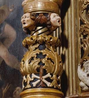 Andrea Brustolon, Altare delle anime (dettaglio), 1685, legno policromato e dorato. Pieve di Forno di Zoldo, chiesa di San Floriano © Provincia di Belluno