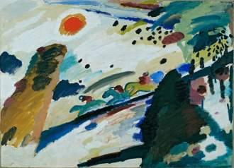 Wassily Kandinsky, Paesaggio romantico, 1911, Monaco di Baviera, Städtische Galerie a Lenbachhaus, olio su tela, 94,3 x 129 cm