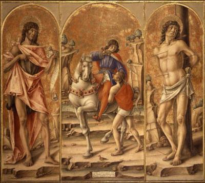 Bartolomeo Vivarini, San Martino e il povero; San Giovanni Battista; San Sebastiano (Trittico di San Martino), 1491, Bergamo, Accademia Carrara, tempera e olio su tavola.