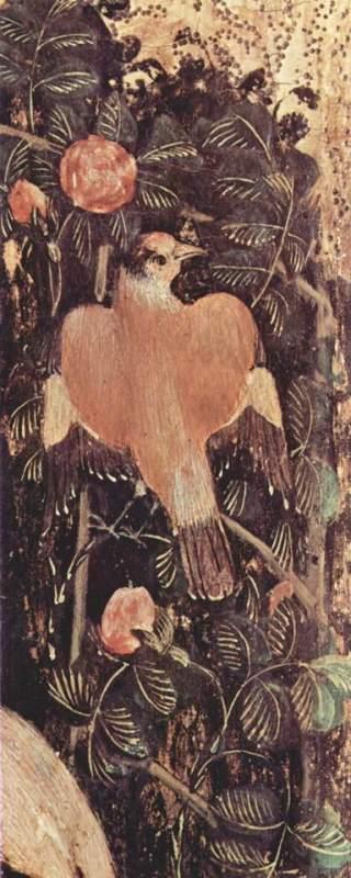 """Antonio di Puccio Pisano, detto Pisanello (Pisa? ante 1395 – Roma? 1455 circa), Madonna con il Bambino, detta """"Madonna della quaglia"""" (particolare), Verona, Museo di Castelvecchio (inv. 164 – 1B90), 54 x 32 cm, tempera su tavola"""