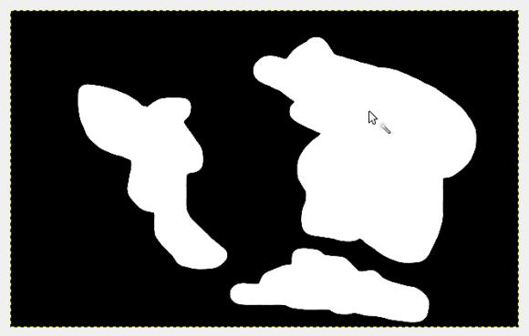 Create una immagine con sfondo nero e disegnate delle sagome di color bianco.