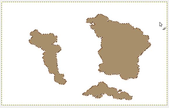 Sempre mantenendo la selezione precedente, create un nuovo livello trasparente, sopra a quello appena creato, cambiate colore principale (#a78f6b) e trascinate il medesimo colore sulla parte selezionata.