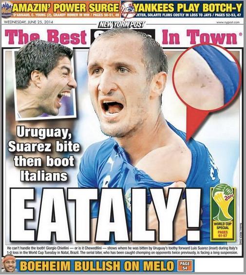 Miglior prima pagina Suarez-Chiellini al New York Post