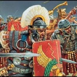 Lo schieramento romano in battaglia