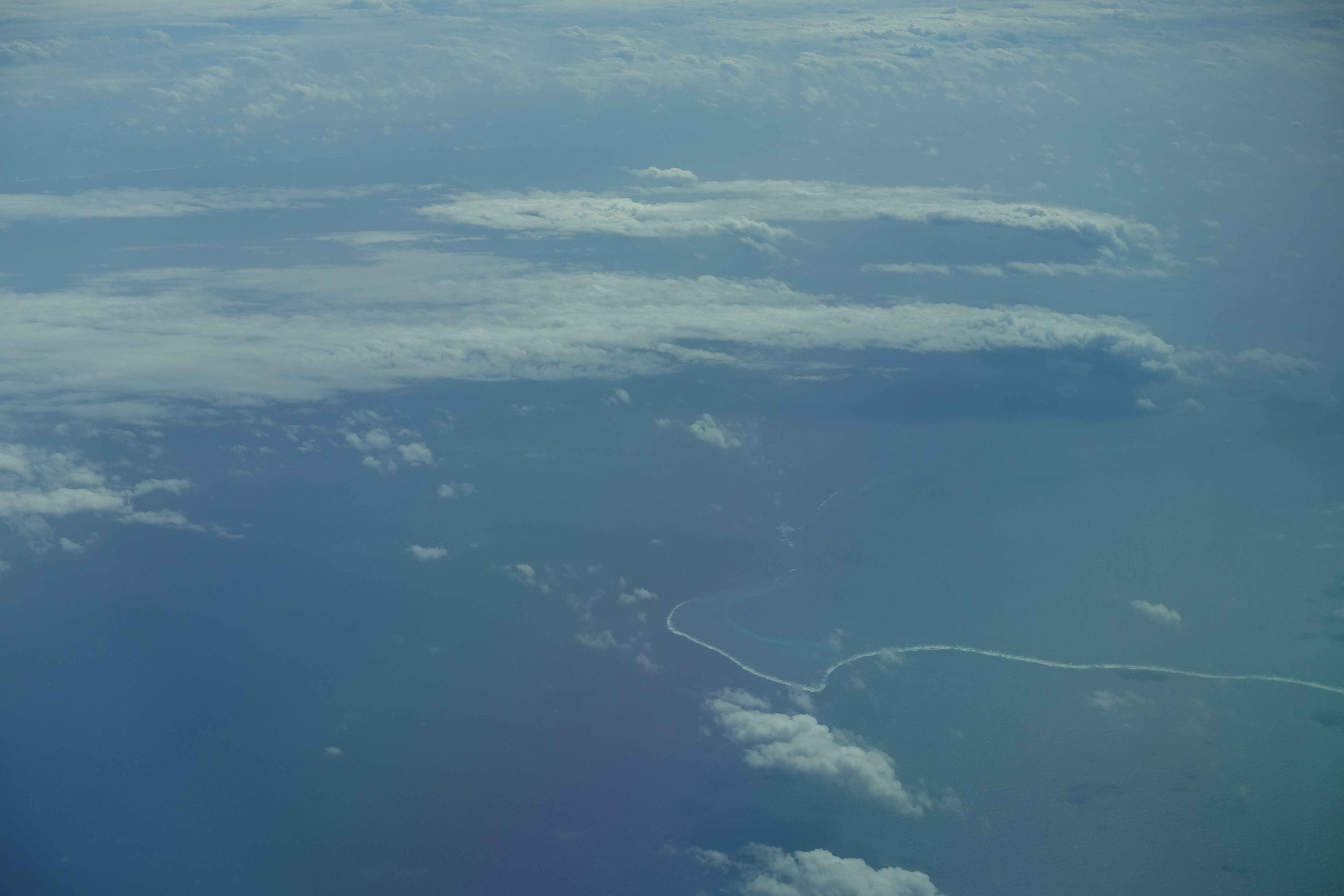 Thin lines of coral reefs