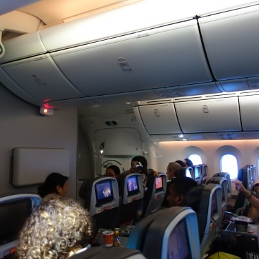 Interior photo of the 787 cabin