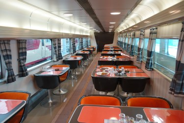 Upper level Shinkansen dining car
