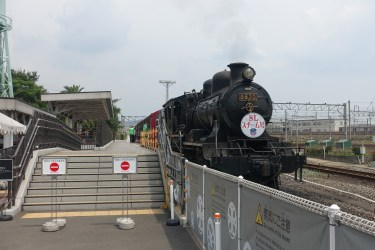 The steam shuttle at the museum terminus