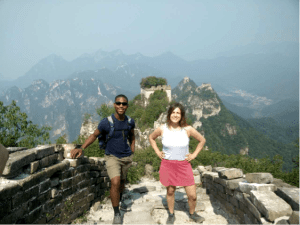 Toussaint and friend at the Great Wall of China