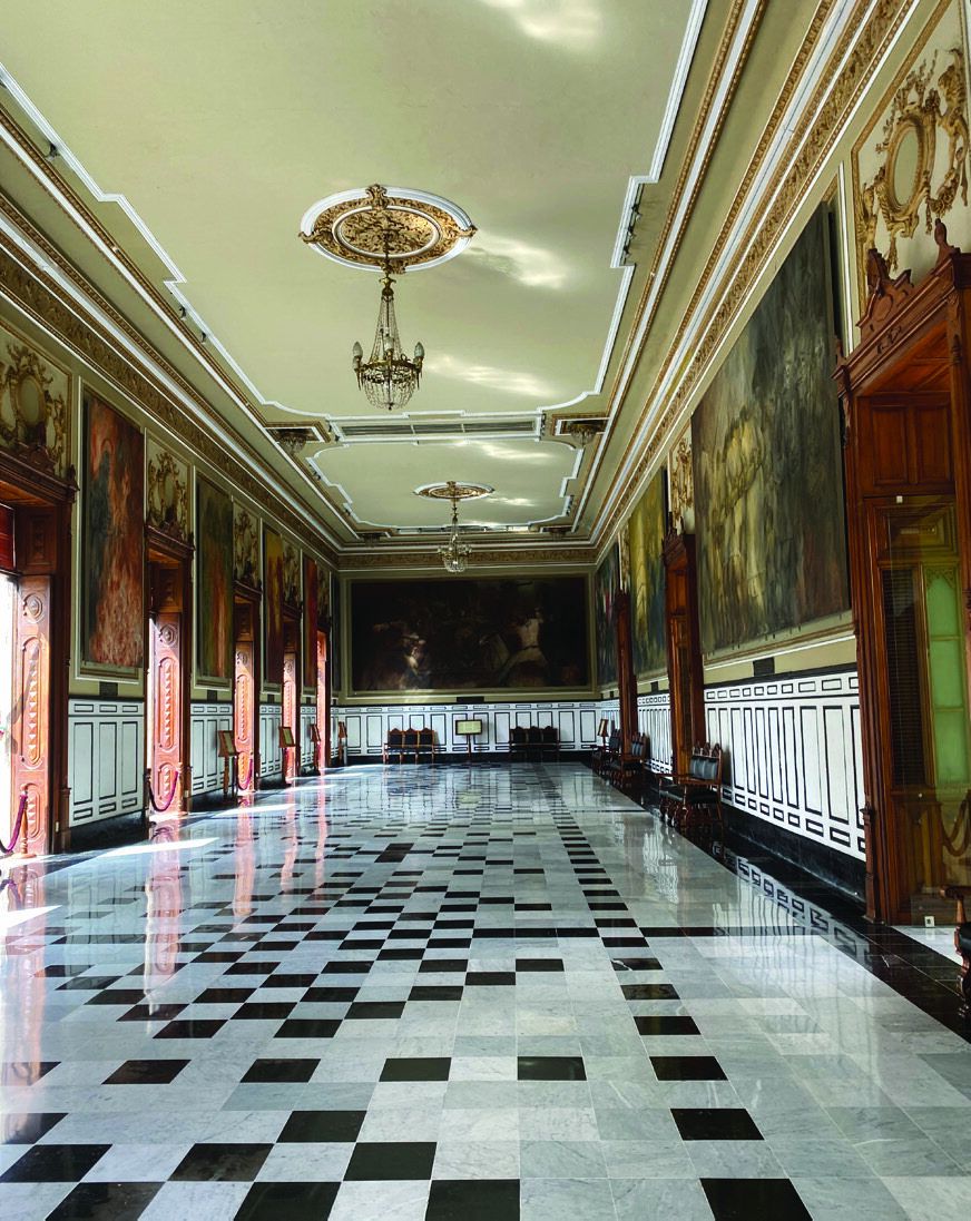 Collection of murals by artist Fernando Castro Pacheco on permanent display in the Government Palace in Merida's Plaza Grande. Photo Credit: Doni Aldine