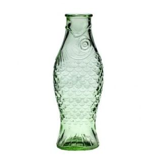 Glass Bottle Fish 1 L Transparent Green