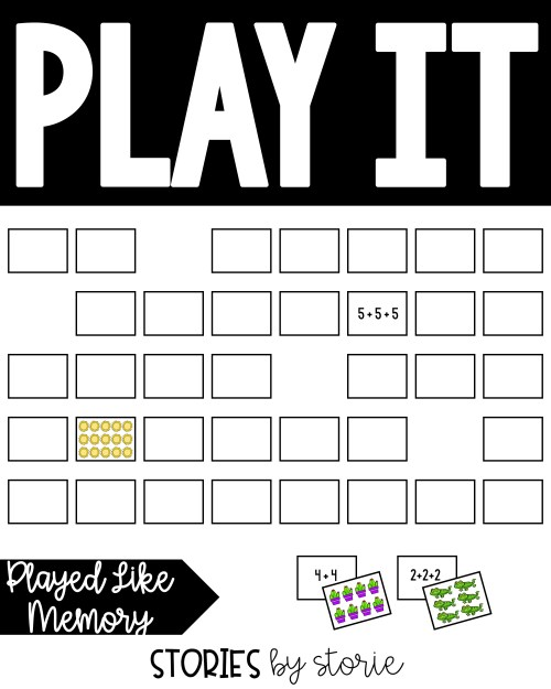This matching game is played like Memory. This is a fun way to practice matching picture arrays with repeated addition equations.