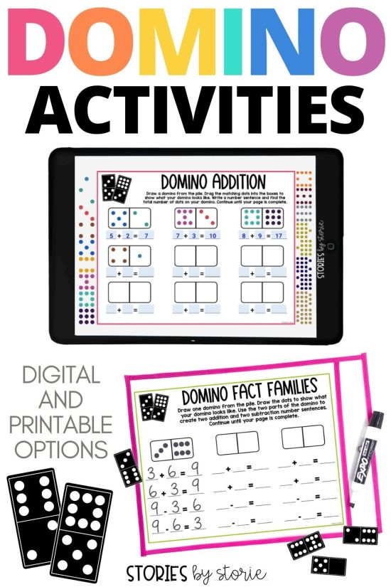 These independent dominoes activities help students practice addition and subtraction, odd and even numbers, ordering numbers, and more! There's even a digital option. These activities work well for math rotations, fast finishers, and centers.