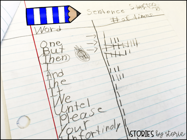 Revising Sentence Beginnings - Have your students set up a t-chart. On the left side, students will record a list of words that each sentence begins with as they look through their piece of writing. On the right side, students keep a running tally of the number of times those words are used as sentence starters.