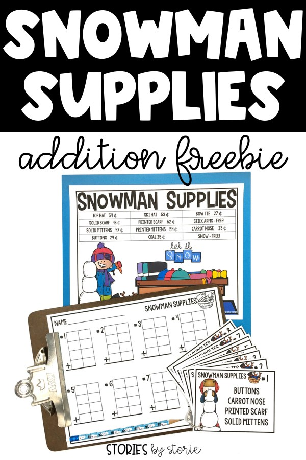 Are you ready to build a snowman this winter without leaving the classroom or freezing your hands? This snowman supplies pack is a great way to practice addition with up to four 2-digit numbers. It can be used during math rotations, as a center activity, or with a small group.