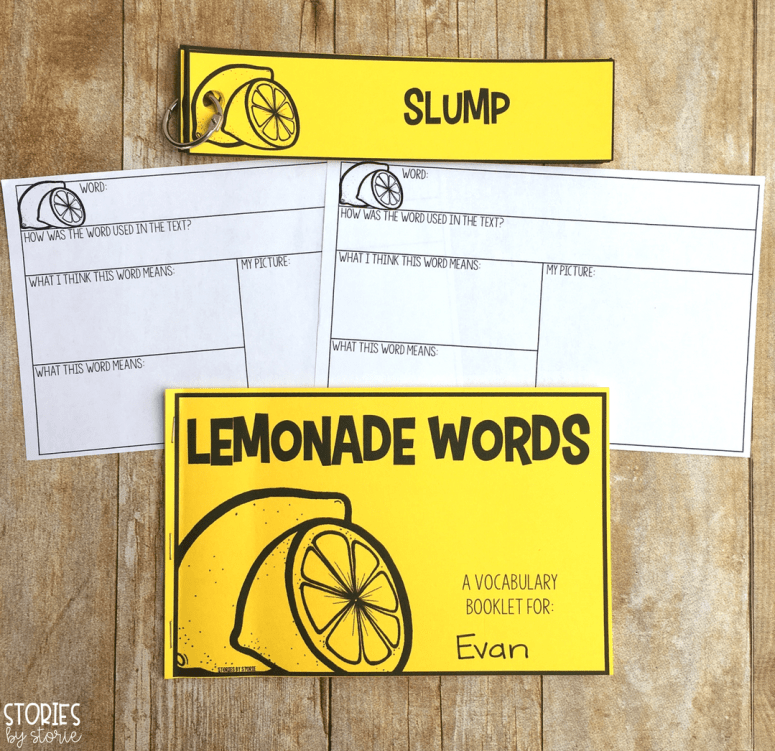 This lemonade words booklet can be used to help students with vocabulary while reading The Lemonade War by Jacqueline Davies.