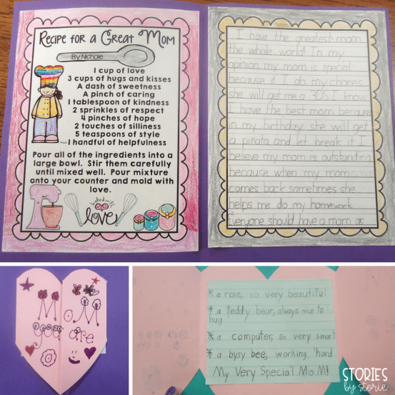 For Mother's Day, students wrote a poem, an opinion paragraph, and a recipe for a great mom.