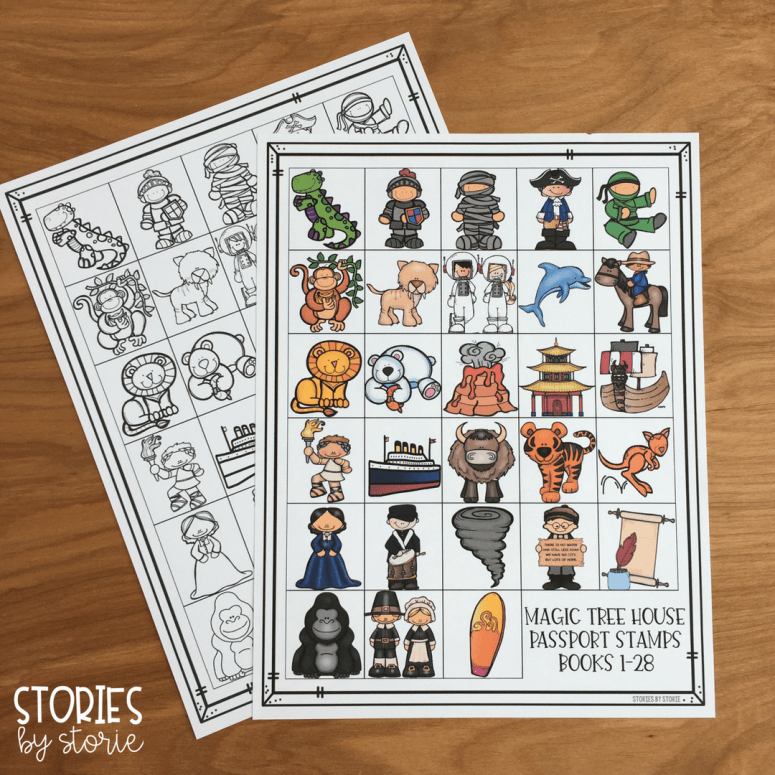 The Magic Tree House Passport Stamps come with all 28 stamps on one page. These stamps work well for independent readers or small groups.