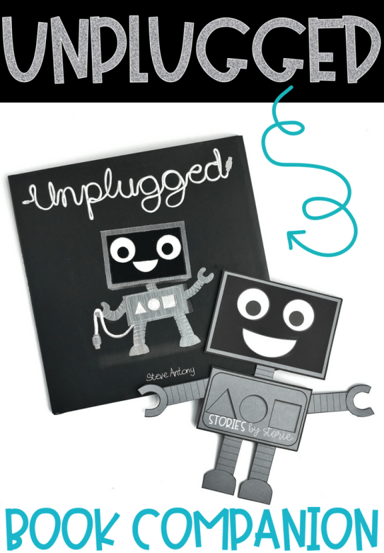 Unplugged by Steve Antony is a picture book that follows Blip, a robot who enjoys being plugged in to her computer. One day she experiences a blackout and ends up outside. When she finally returns, she discovers she enjoys being unplugged. I've created a few resources you can use with your students while reading this story.