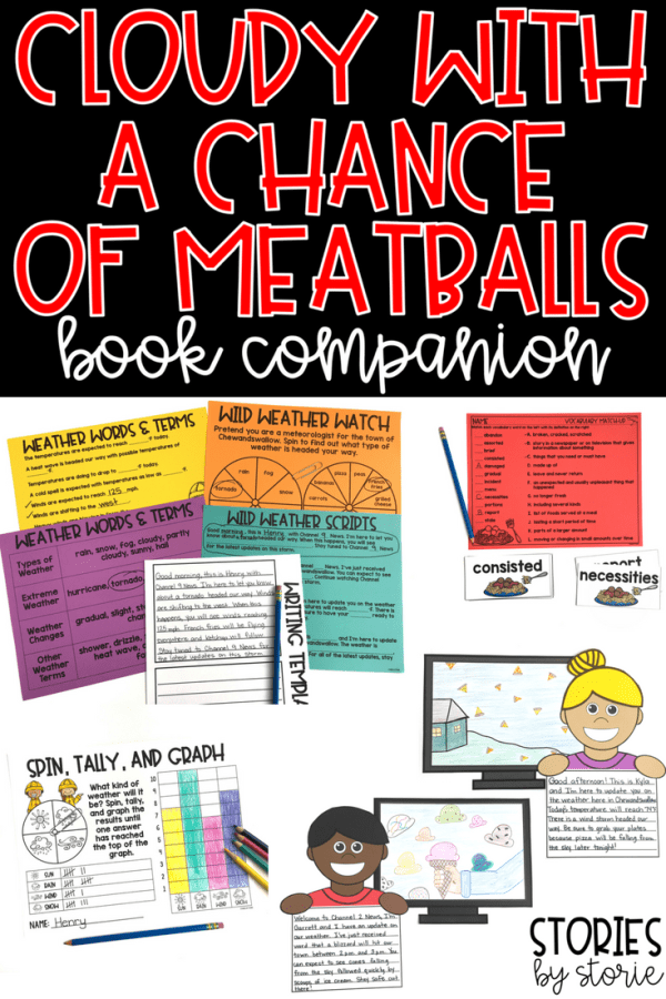 Cloudy with a Chance of Meatballs is an imaginative story to read during an air and weather unit, but could be shared in your classroom any time of year. After reading, your students can select a wild weather, write a weather report, draw the scene on a TV screen, and create a kid reporter to tie it all together. This companion also contains comprehension, vocab, and other activities to pair with the story.