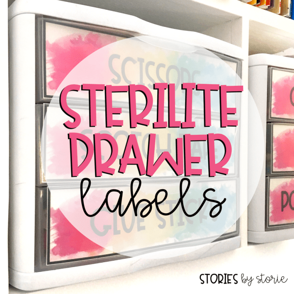 Sterilite Drawers have been a key organizational tool in my classroom for years and they work well in my home office, too! I love that I can keep all of the mess separated, contained, and still keep everything looking good just by adding labels to the front of the drawers. You can download these Sterilite Drawer labels for free!