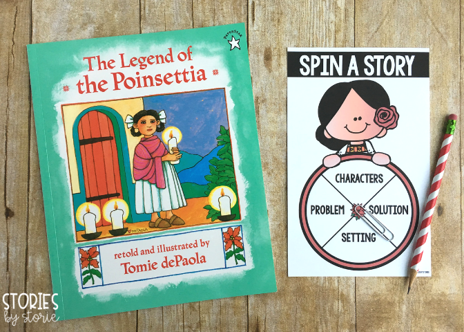 Students can practice story elements with this spinner activity for The Legend of the Poinsettia.