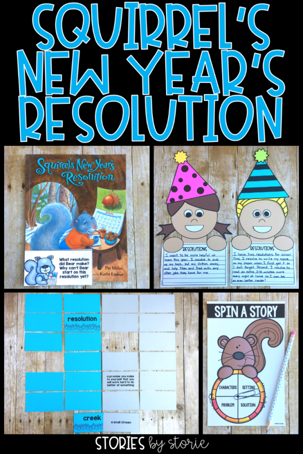 If you're looking to start the new year off with making resolutions and goal setting, you should read Squirrel's New Year's Resolution by Pat Miller. I have a fun resolutions craft and other activities you can pair with this story.