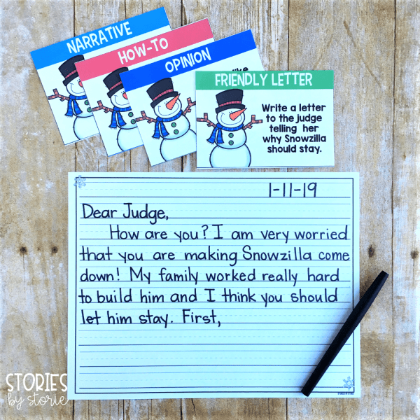 I have included four writing prompts for the book Snowzilla by Janet Lawler. You can choose whether your students write a friendly letter, a narrative, an opinion piece, or a how-to/procedural writing task.