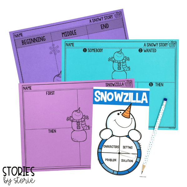 Once students can sequence Snowzilla, they can retell or summarize the story with these graphic organizers. This snowman spinner is a great way to work on story elements.