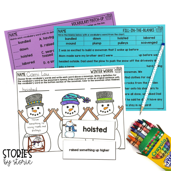 I have created several vocabulary activities for Snowzilla. There are vocabulary cards with definitions, a winter words organizer, a match-up page, and a fill-in-the-blanks page.