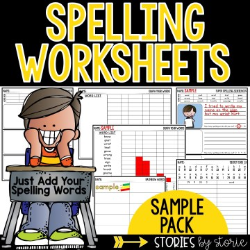 Spelling Worksheets Sample Pack - try out four activities with your list of spelling words. The activities include Graph Your Words, Rainbow Words, Secret Code, and Super Spelling Sentences.
