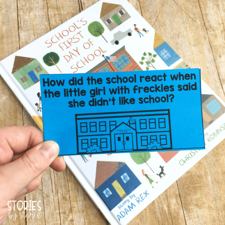 These 12 question cards can help guide your discussion while reading School's First Day of School. There is also an option to have students respond to these questions in written form.