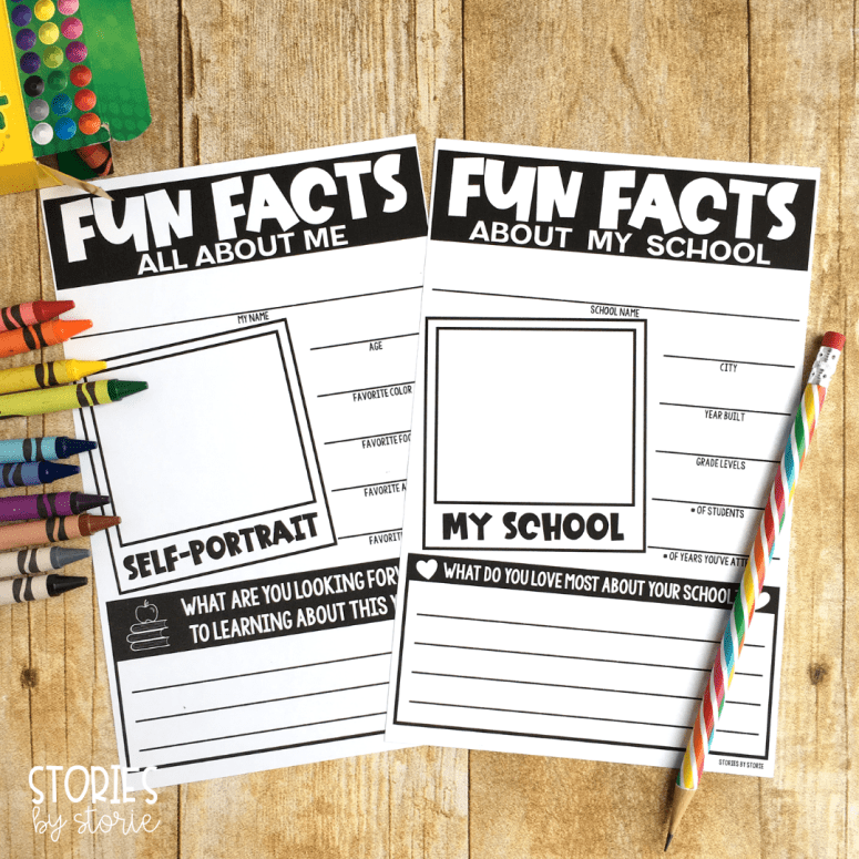 After reading School's First Day of School, students can complete these fun fact pages. One page helps students learn more about their school and the other is more of an all about me page.