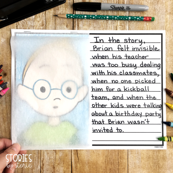 The Invisible Boy centers around Brian. To keep with the feeling of the book, students can attach tissue paper or wax paper over the top of their drawing to give it more of an invisible feel.