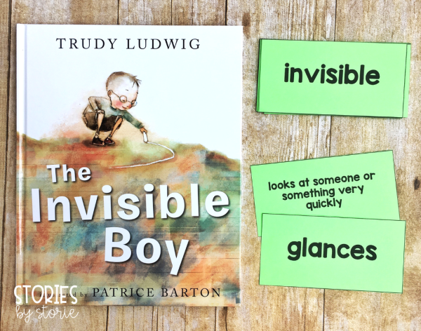 I selected 12 vocabulary words or phrases to focus on while reading The Invisible Boy. Each vocabulary card has a matching definition. These can be used in a pocket chart display or students can play a memory matching game for further practice.
