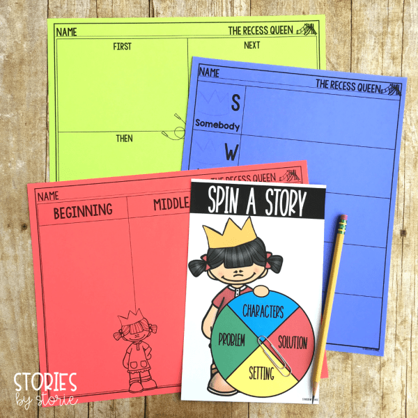 These graphic organizers will come in handy as your students summarize or retell The Recess Queen. Students can review story elements with this spinner activity, too.