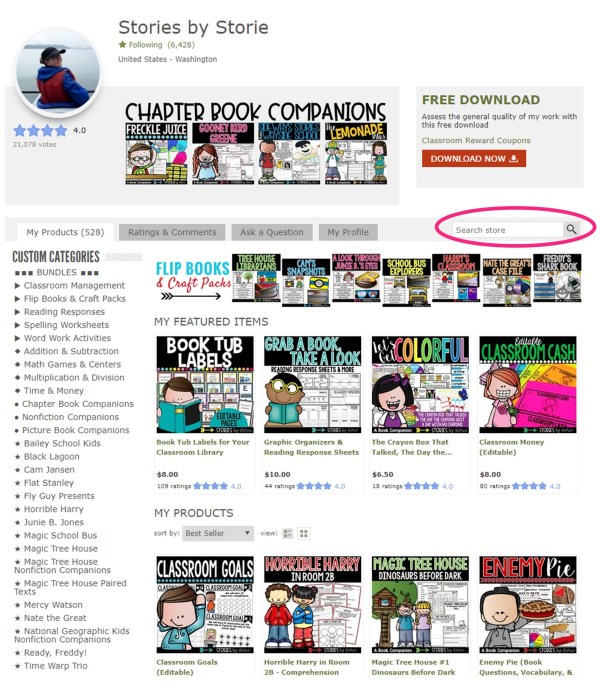 My Teachers Pay Teachers store has a wide variety of chapter book companions you can use with your small groups. You can use the custom categories on the left hand side, or complete a search for a specific book title using the search bar.