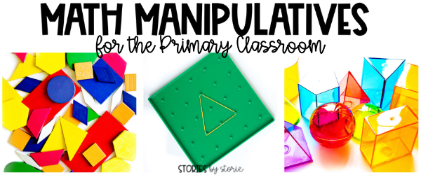 Math manipulatives keep students engaged and provide hands-on opportunities to make learning more concrete. Pattern blocks, geoboards, and geometric solids are some of my favorite math manipulatives for the primary classroom.