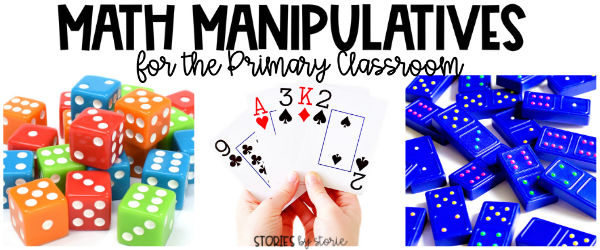 Math manipulatives keep students engaged and provide hands-on opportunities to make learning more concrete. Dice, playing cards, and dominoes are some of my favorite math manipulatives for the primary classroom.