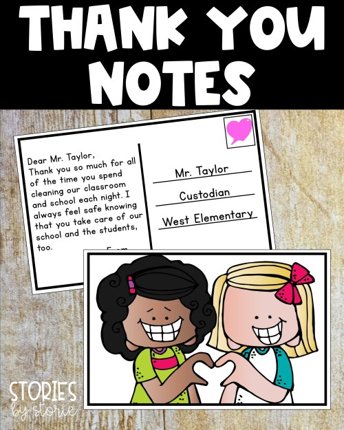 Kids can use these classroom postcards to send thank you notes to school staff members. These notes are sure to brighten someone's day.