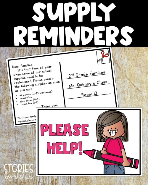 When school supplies are running low, you can send a friendly reminder using these classroom postcards. Simply add the supplies you need and send home in student folders.