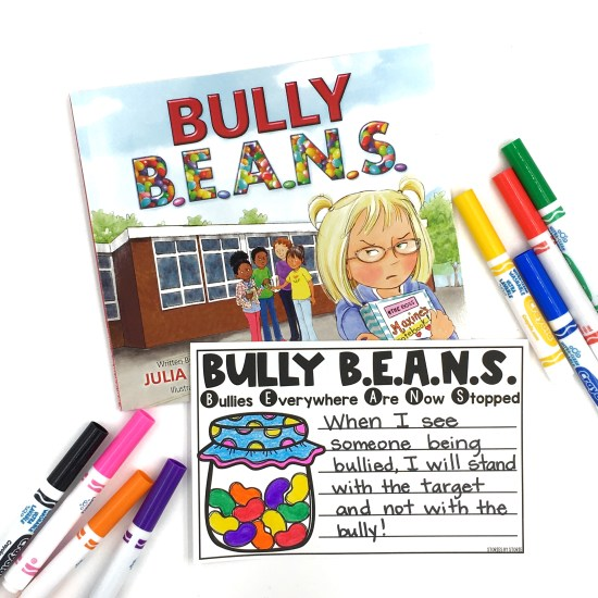 After reading Bully B.E.A.N.S. by Julia Cook, students can brainstorm different ways to stand up to bullying. Students can choose one and write about it.